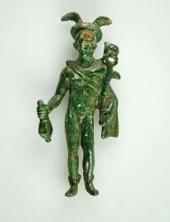 Figurine of the god Mercury with winged helmet and boots, winged staff ('caduceus'), cape and flask. Mercury was the Roman god of shopkeepers, merchants, travellers, communication, thieves and tricksters.